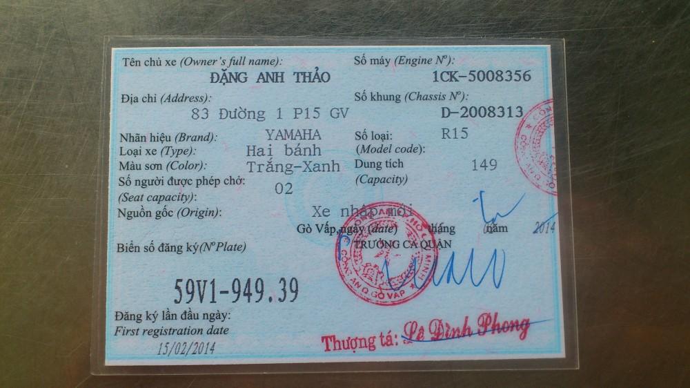 ban xe yamaha r15 trang xanh 85tr xe mua dc 3 thang chay 2500km dt 0986772255 - 4