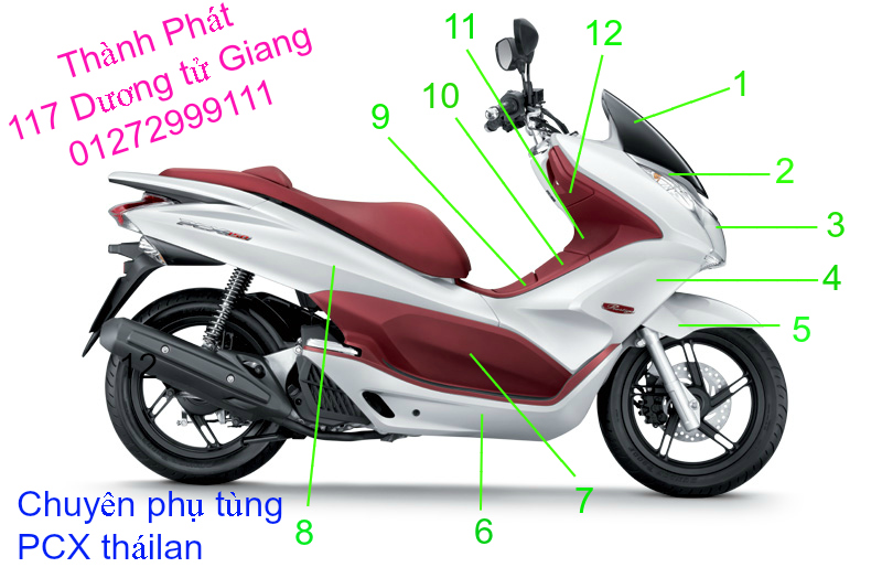Chuyen Phu tung Zin Honda PCX Thailan va VN doi 2011 doi 2014 day du het do mu va do may Gia tot u - 10