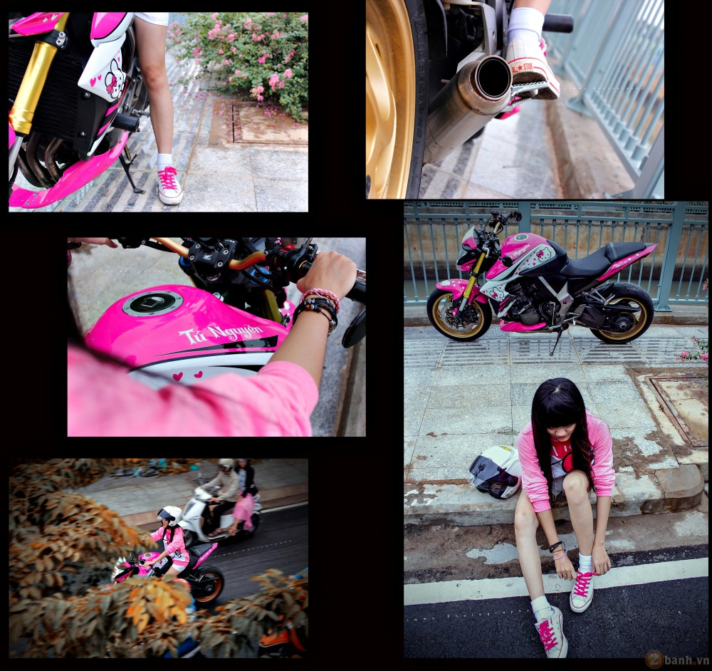 Nu biker tre ben canh CB1000R phien ban Hello Kitty