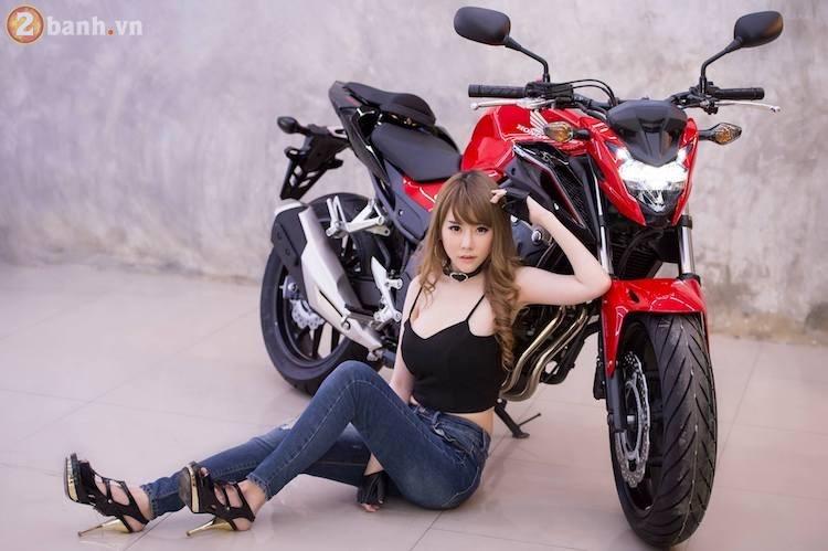 Hotgirl xinh dep tha dang day sexy ben canh Honda CB500F 2017 - 5