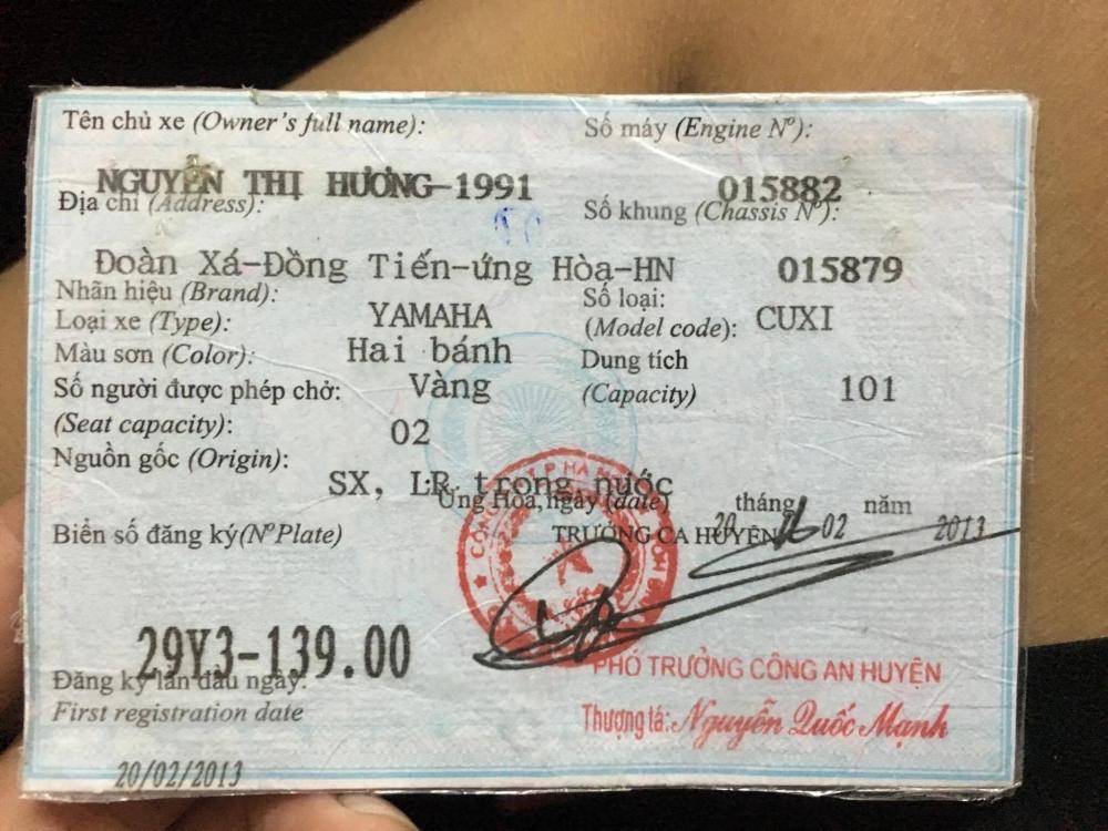 Ban xe Cuxi Fi doi 2013 bien 29Y 13900 moi 99 gia 13 trieu di 7000km chinh chu tai nha rieng