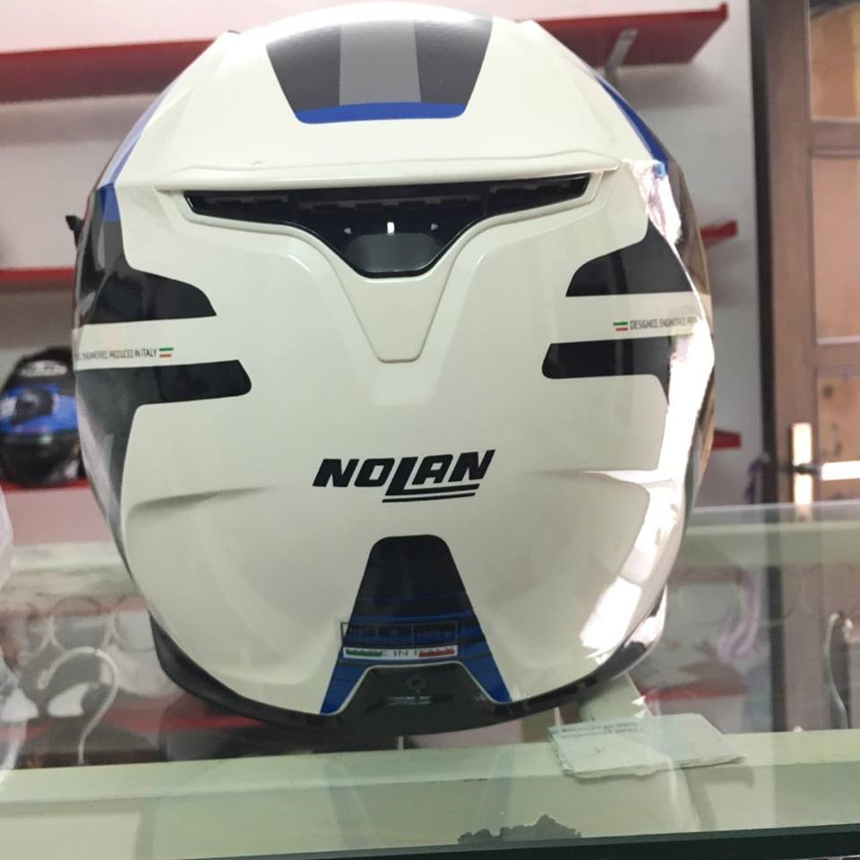 motobox Nolan N87 Metal White 43 vien xanh - 3