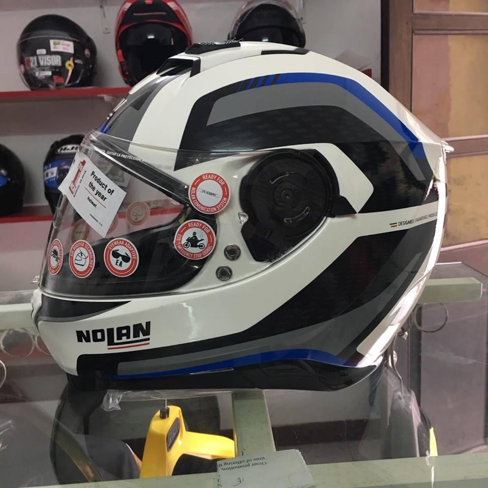 motobox Nolan N87 Metal White 43 vien xanh - 2