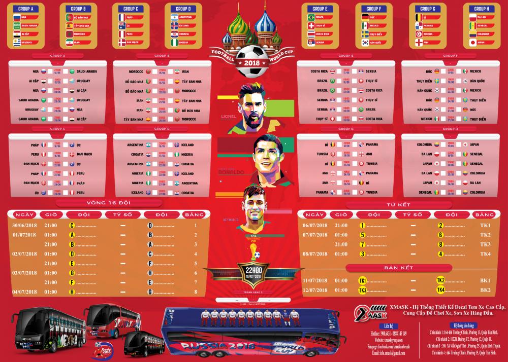 Lich Thi Dau Chinh Thuc World Cup 2018