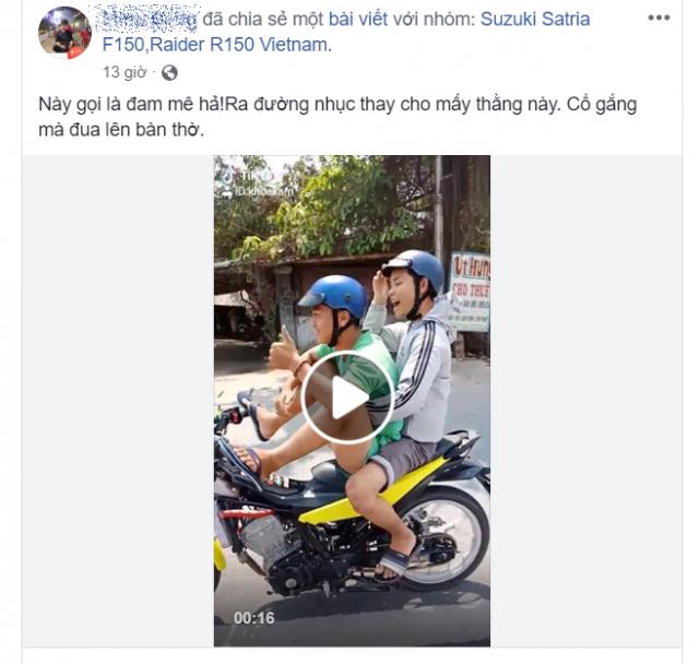 CLIP Thanh nien chay Raider 150 dieu khien bang chan khien dan mang phan no - 6