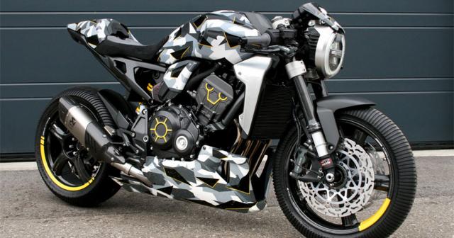 Honda CB1000R do dau tien theo phong cach Camo den tu Gannet Design - 3